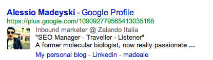 My awesome Google+ profile in SERPs