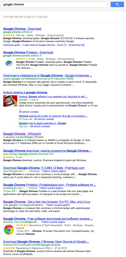 "Searching for ""google chrome"" on Google.it"